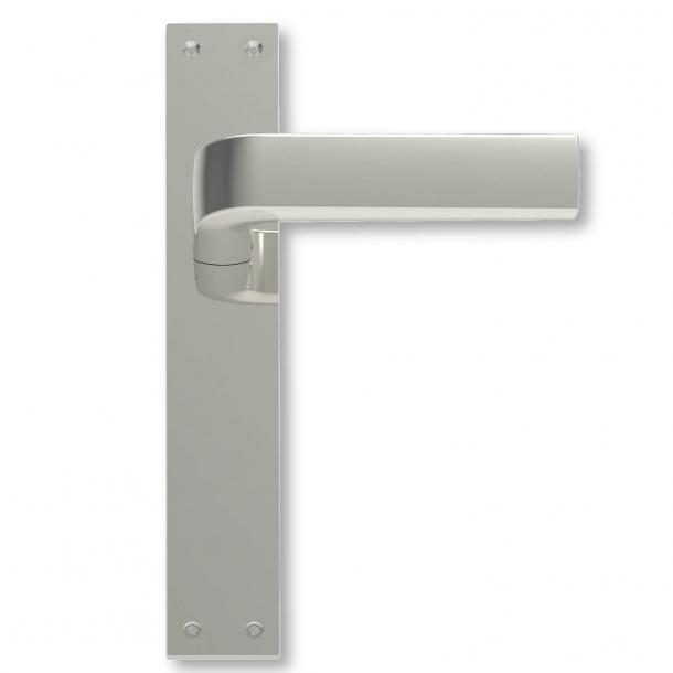 Dörrhandtag inomhus Långskyltar matta nickel - 1930-talet - C05410