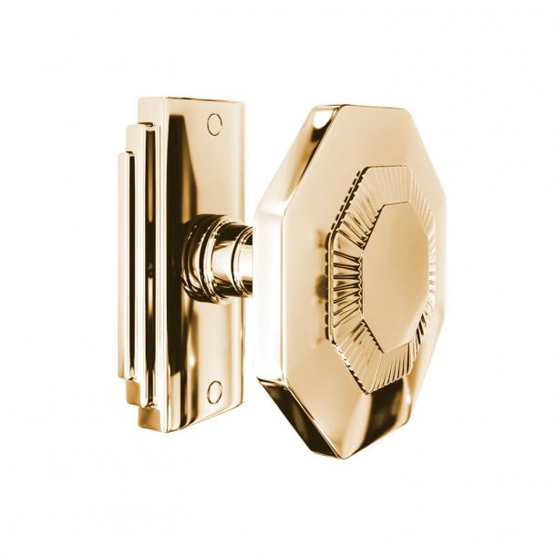 Door handle - 8-corner - Brass without lacquer - Model C27800
