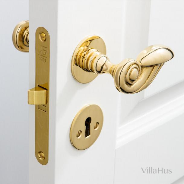 Door handle interior - Brass - Smooth Rosettes - PERROT 88 mm