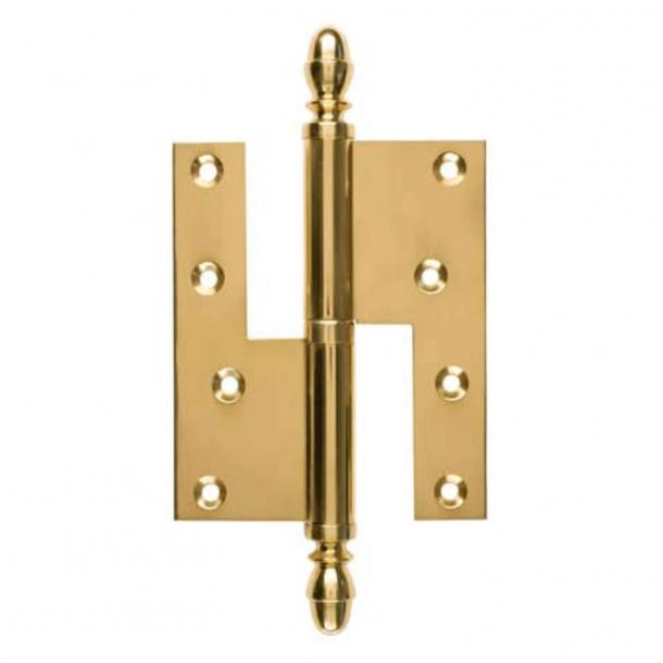 Dörr gångjärn, Höger - 115 x 34 mm - Kvadrat / Acorn knapp - Mässing