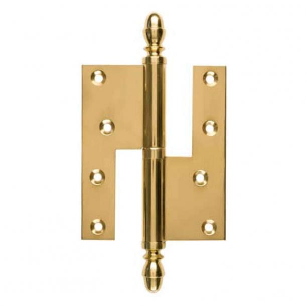 Dörr gångjärn, Vänster - 130 x 45 mm - Kvadrat / Acorn knapp - Mässing