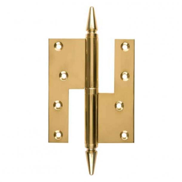 Dörr gångjärn, vänster - 130 x 45 mm - kvadratisk / spets knapp - mässing (203483-203489)
