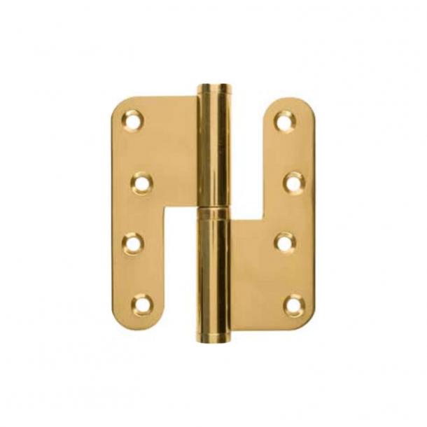 Door hinge, Left - 123 x 45 mm - Round - Brass - stainless steel pin