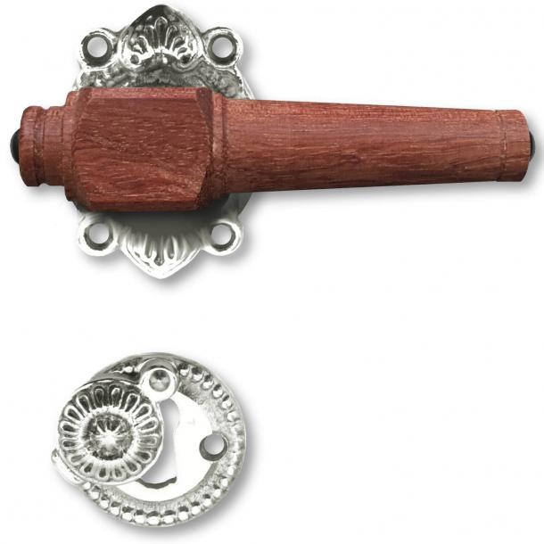 Trädörrhandtag, inomhus - Förnickad mässing och rosenträträ