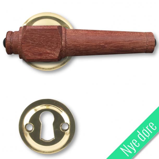 Trädörrhandtag, inomhus - Mässing och brunt trä (205237)