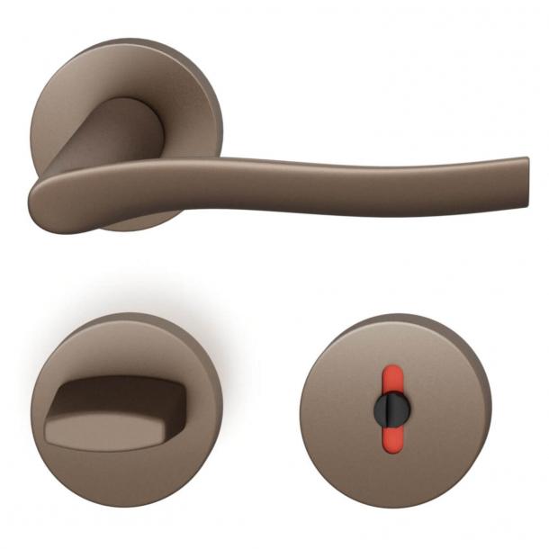 FSB Door handle with privacy lock - Medium bronze - FSB Workshop - Model 1028